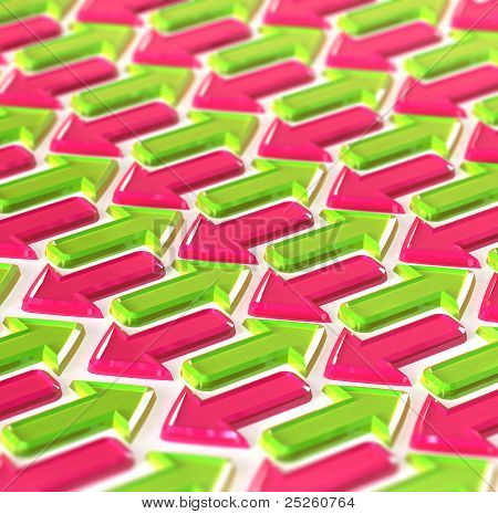 Abstraction Made Of Pink And Green Arrows