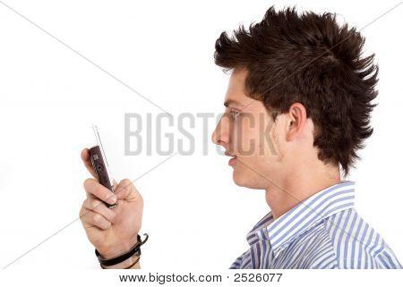 Casual Man Texting