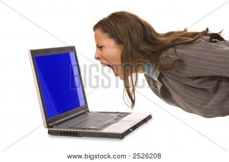 Woman Yelling At Computer
