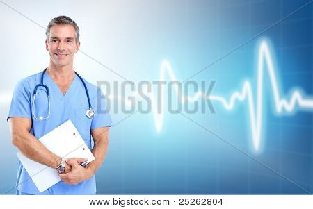 Medical doctor cardiologist. Over blue background. Health care.
