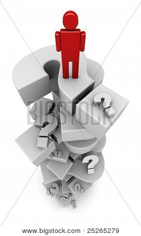 Person Standing On Question Marks