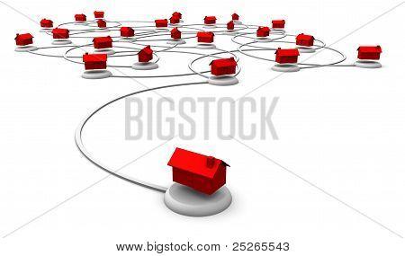 Web-Netzwerk der Häuser