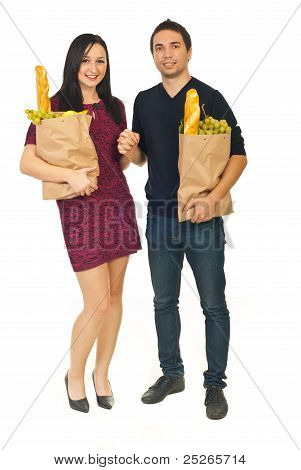 Young Couple Shopping Food
