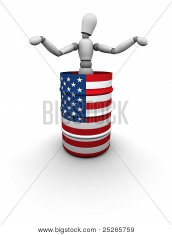 Man Standing In Oil Barrel With Usa Flag