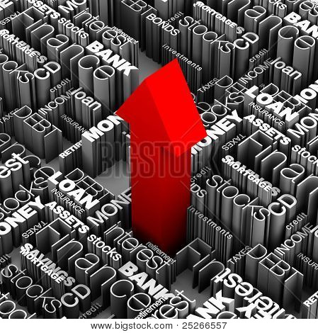 Financial Words Red Arrow Up