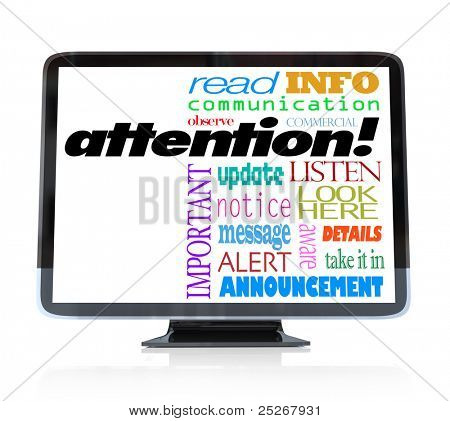 A high definition television with the word attention and many other words related to communication and a special televised announcement: info, update, alert, commercial, message, notice and more