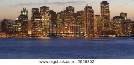 Golden Sunset Sky Behind San Francisco Downtown Skyline