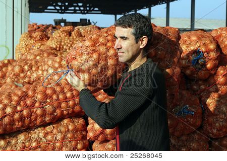 Farmer in Agricultural Warehouse