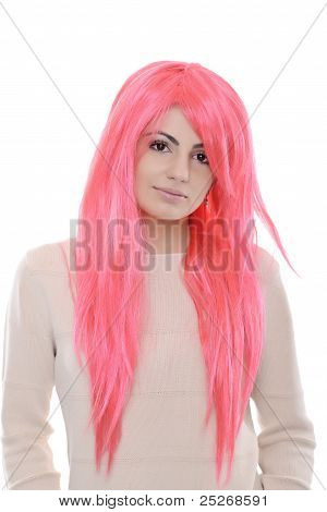 woman with pink wig