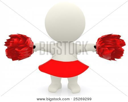 3D cheerleader with pompom - isolated over a white background