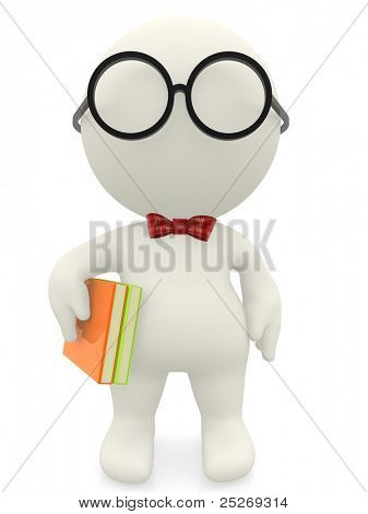 3D cartoon nerd wearing glasses an a bowtie - isolated