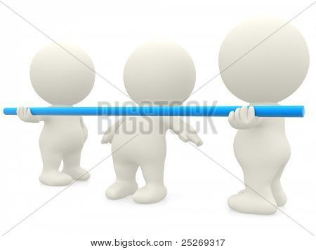 3D group of people dancing limbo with a pole - isolated