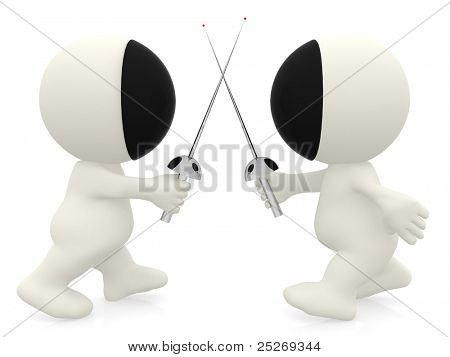 3D cartoon people fencing - isolated over a white background