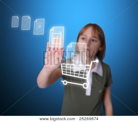 Girl Buying Multimedia Items Online