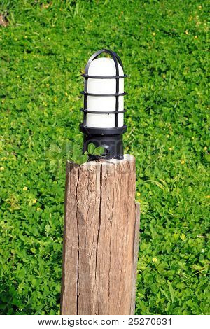 Close-up Garden Lamp On The Background Of Green Grass