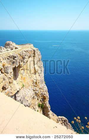 Old Castle In The Lindos Town, Rhodes, Greece