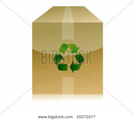 cardboard box with recycle symbol on white background