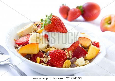 Healthy breakfast with cereals and colorful fruits
