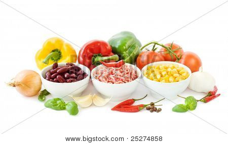 Ingredients for a chili con carne on white