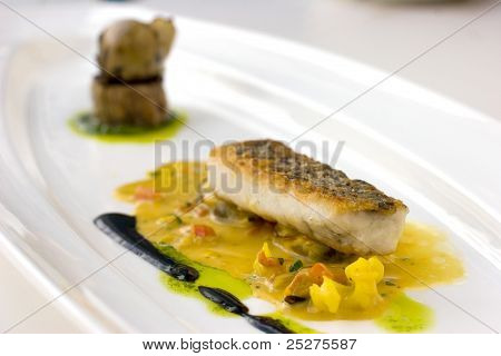Pan Seared, Crsipy Skinned Cod Molecular Cuisine