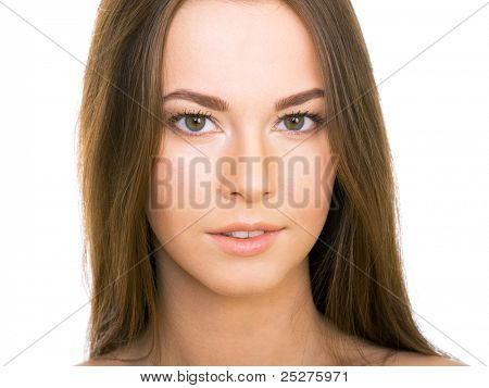 Beautyful woman with long straight brown hair looking at camera, isolated on white background
