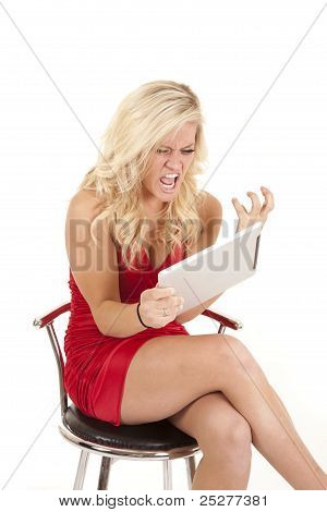 Very Angry Woman In Red Dress
