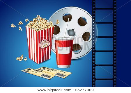 pop corn with movie film reel