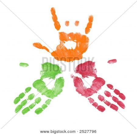 Multicolored Hand With One Making Sign