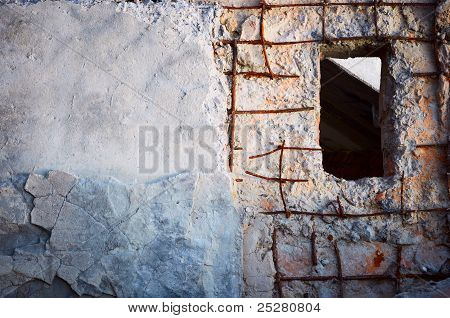 Old Architecture. Window In Wall