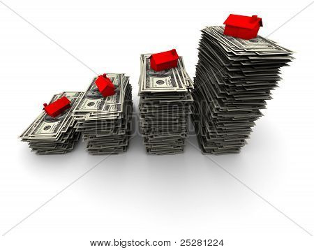 House Sitting On Stack Of Hundred Dollar Bills