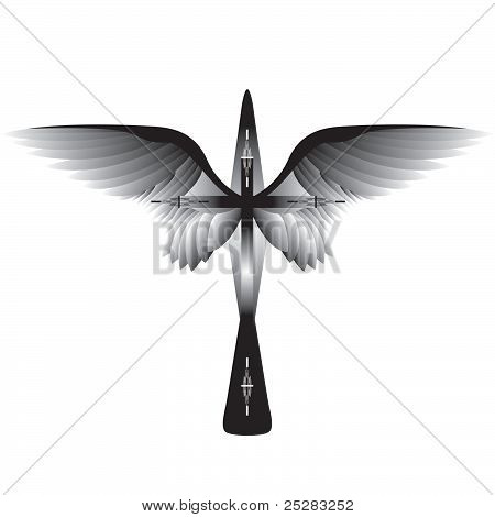 Cross with Wings. Vector illustration.