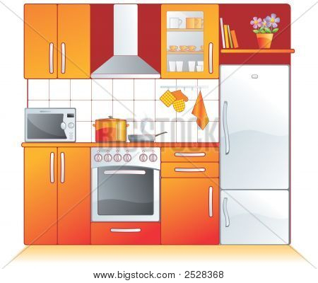 Modern Kitchen Fittings - Furniture And Appliances. Illustration