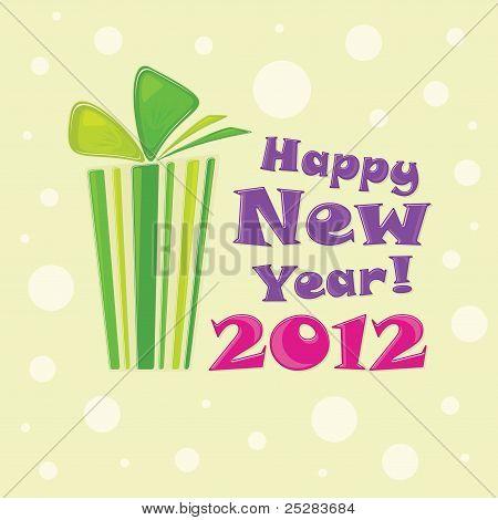 Green gift, postcard Happy New Year 2012