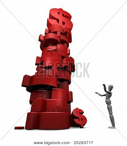 Person And A Stack Of Dollars