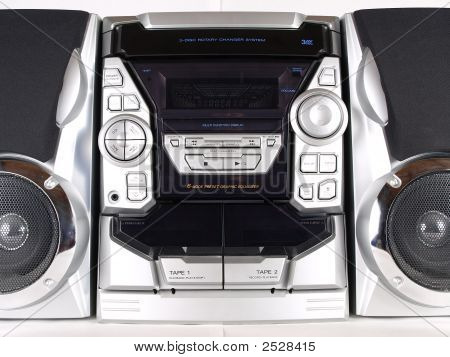 Silver Boom Box Stereo Front