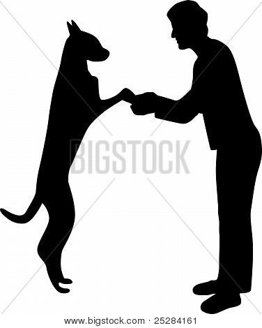 woman and dog silhouette vector