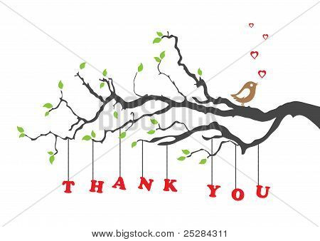 Thank You Card With Bird