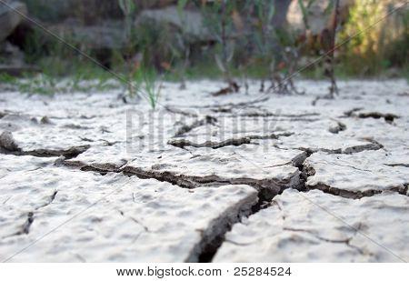 Fronteira do deserto rachada