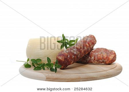 italian salami and cheese on wooden cutting board