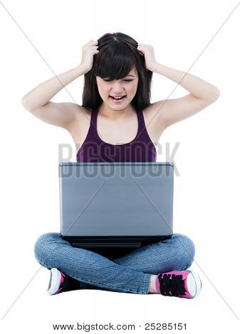 Frustrated Young Female With Laptop