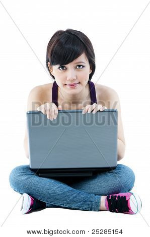 Young Female With Laptop