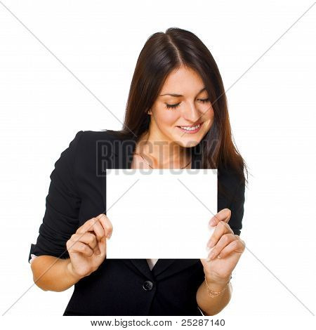 Woman With Blank Signboard