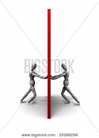Two People Pushing Against Wall