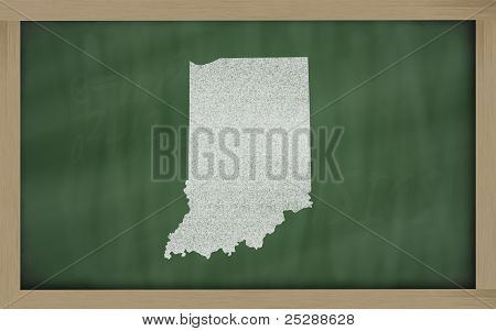 Outline Map Of Indiana On Blackboard