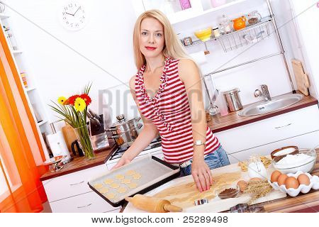 Woman Baking Cookies