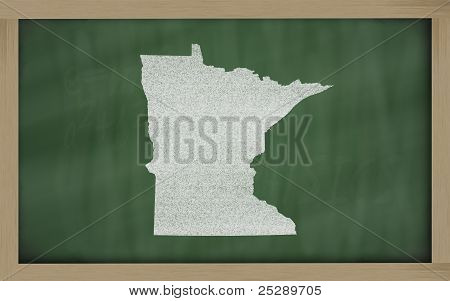 Outline Map Of Minnesota On Blackboard
