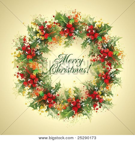 Christmas Card. The Holly Wreath On A Beige Background. Vector Illustration.