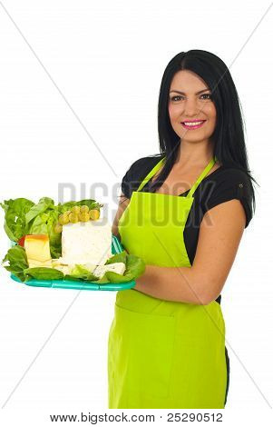 Attractive Market Worker Holding Cheese