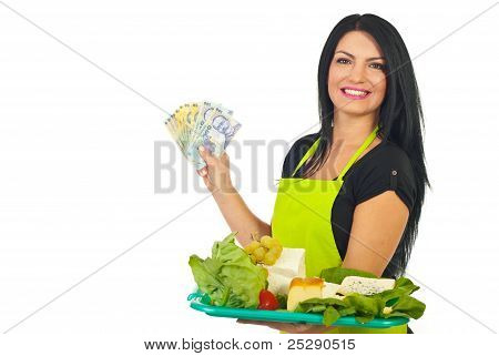 Cheerful Cheese Maker Holding Money