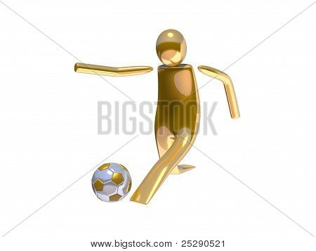 Golden stickman soccer player shooting angle 02